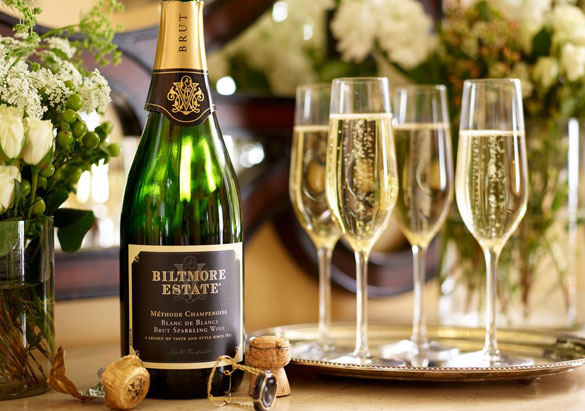 Flute glasses with Biltmore Estate sparkling wine
