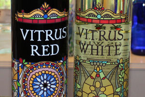 Close-up of Vitrus Red and Vitrus White labels
