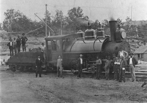 Workers and steam engine during Biltmore House construction, 1892