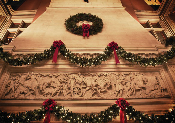 Garlands above the Banquet Hall fireplace at Biltmore
