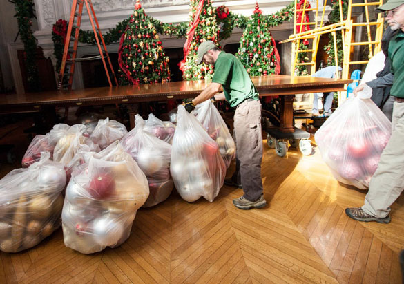 Team members bring in ornaments for Christmas at Biltmore