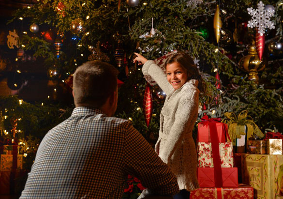 Father and daughter enjoy Christmas at Biltmore