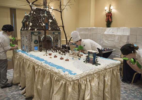 The Inn's pastry team decorates their gingerbread project