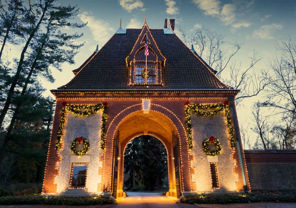 Biltmore's iconic Lodge Gate with Christmas decorations