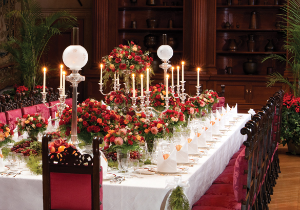 The fully set Banquet Hall table in Biltmore House