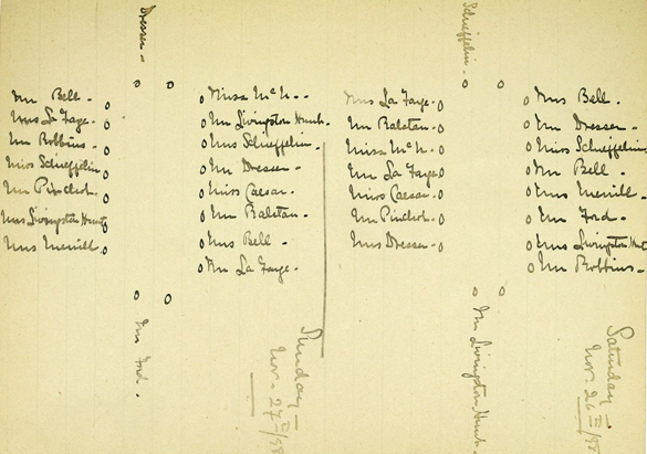 Archival seating chart from a November 1898 dinner in the Banquet Hall of Biltmore House