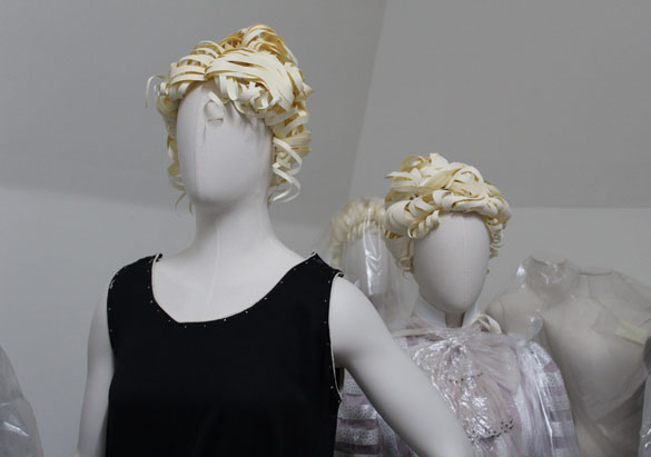 Paper wigs on mannequins at Biltmore