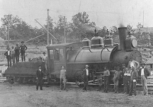 Workers and steam engine 1892