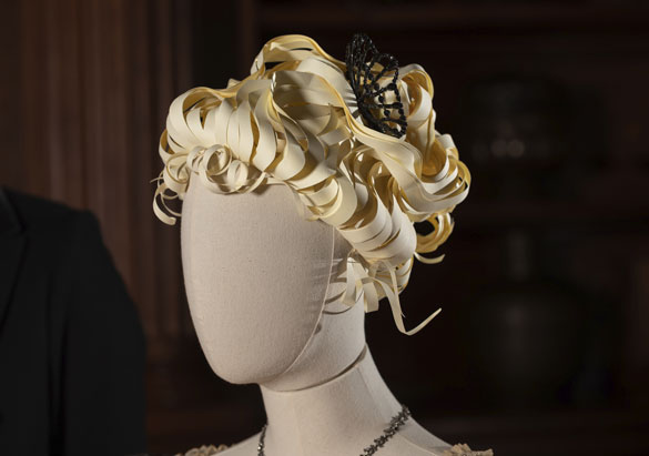 Katherine Hunt's mannequin with beaded comb in hair