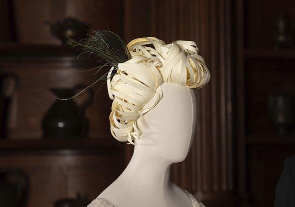 Edith Vanderbilt mannequin with peacock feather headpiece