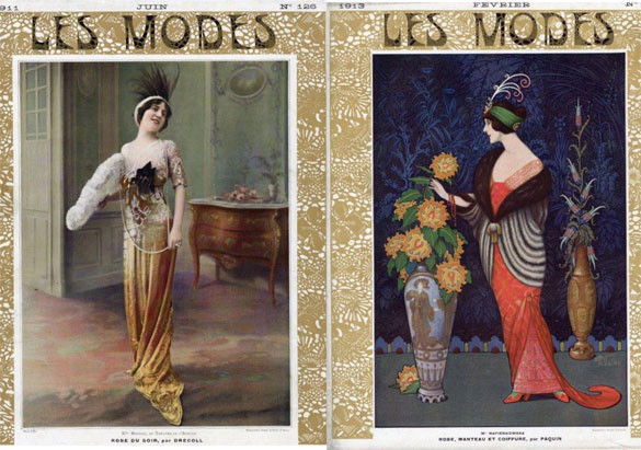Front covers of Les Modes magazines in Biltmore's collection