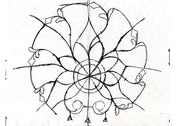 Early sketch of the recreated brooch's frame (Courtesy of Martin Adams)