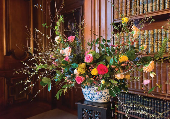 Flower arrangement in the Library of Biltmore House