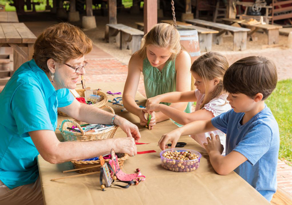 Kids enjoying hands-on crafts