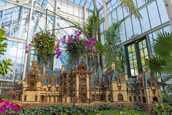 Scale model replica of Biltmore House inside Conservatory.