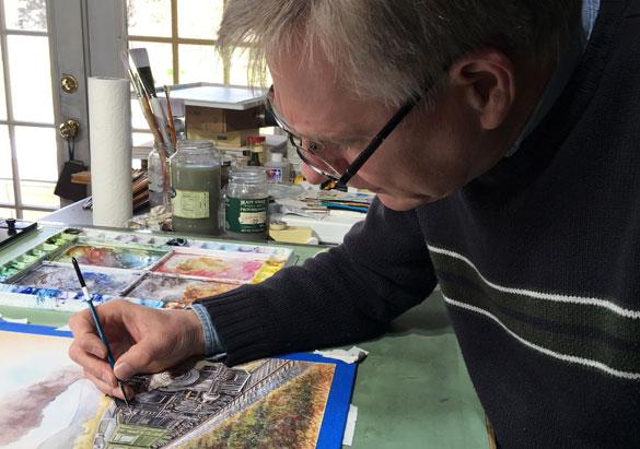 Artist Bryan Koontz works on The Railcar label in his studio