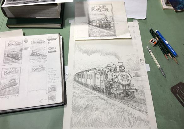 Train sketches by Asheville artist Bryan Koontz