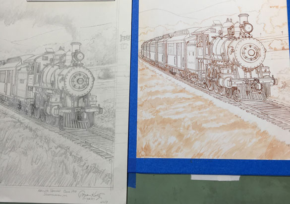Refined train sketches by Asheville artist Bryan Koontz
