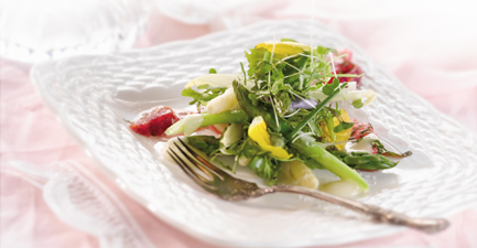Green and White Asparagus Salad with Citrus Confit