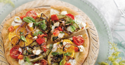 Grilled Summer Vegetable and Goat Cheese Pizzetas