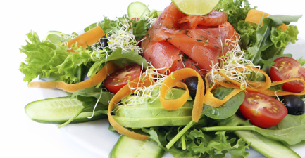Arugula, Avocado, and Cucumber Salad with Smoked Salmon and Citrus Vinaigrette