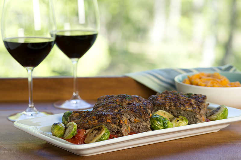 Bison Meatloaf with Butternut Squash Puree and Sautéed Brussels Sprouts