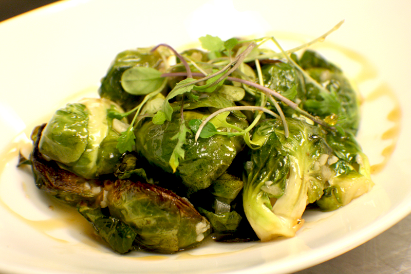 Caramelized Brussels Sprouts with Bacon & Banyuls Vinaigrette