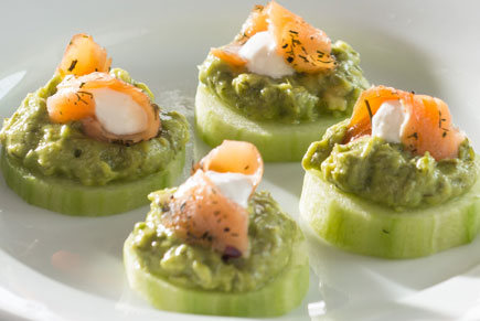 Smoked Salmon on Cucumber Rounds with Avocado and Horseradish