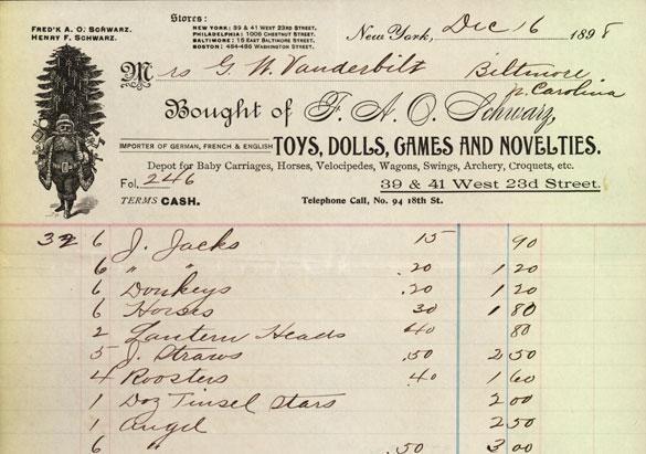 Edith Vanderbilt's Christmas list for Biltmore families