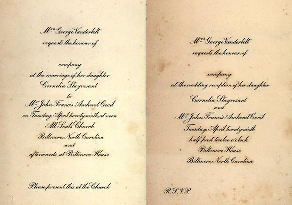 Invitations to Cornelia Vanderbilt's wedding and reception