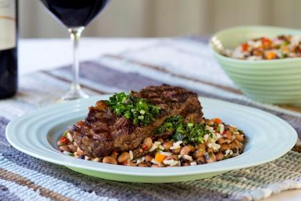 Cedric's Grilled NY Strip Steak With Black Barley Hoppin' John & Rosemary Chimichurri