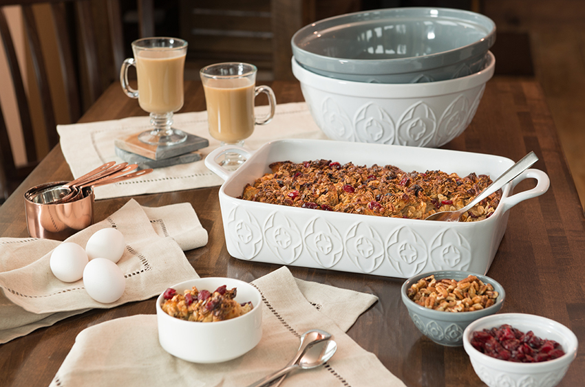 bakeware on table with bread pudding