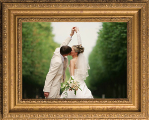 Framed picture of a bride and groom