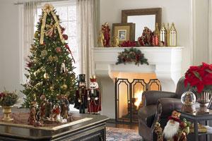 Christmas mantel with framed card