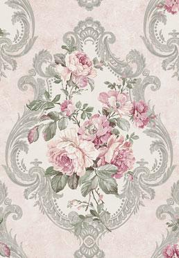 Tyrolean Floral Wallcovering - <br />Gray & Pink