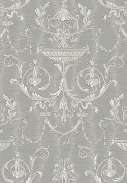Ex Libris Wallcovering- <br />Silver on Gray