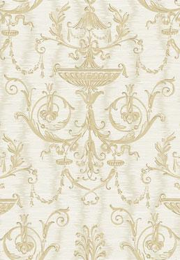 Ex Libris Wallcovering - <br />  Gold on Ivory