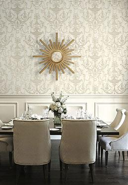 Ex Libris Wallcovering - <br />  Taupe on Ivory