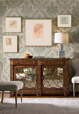 Dramatic Damask Wallcovering - Teal