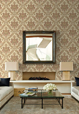 Dramatic Damask Wallcovering - Burgundy