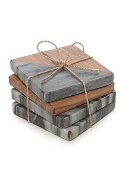 Artisan Acacia and Gray Marble Coasters