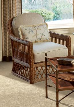 Trellis Wicker Chair & Ottoman