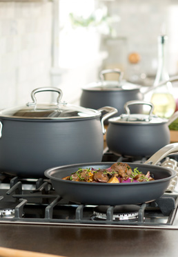 11-Piece Non-Stick Dishwasher Safe Hard Anodized Belly Cookware Set