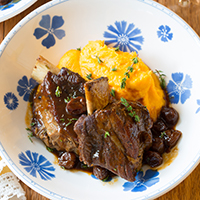 Braised Short Ribs with Gingered Sweet Potato Mash and Cherry Barbeque Sauce