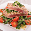 Herb-Marinated Grilled Tuna with Couscous Salad and Sauce Beurre Blanc